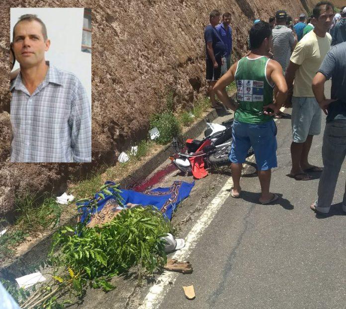 Corpo da vítima ainda está no local do acidente. Fotomontagem: Rede Notícias